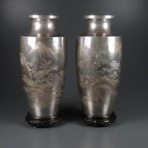 純銀 花瓶 一対