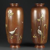 金工 花瓶 一対