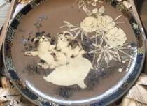 日本丹山 犬図 大皿