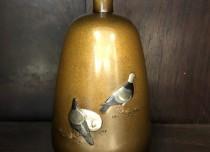 如雲 能川製 金銀象嵌 花瓶 明治