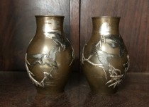宮部篤良 金銀象嵌 花瓶 明治