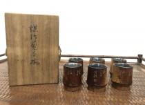 音羽山麓 弥竹林造と 銀張 煤竹煎茶碗 6客