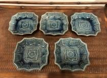 珉平 千鳥印 ブルー釉薬 小皿